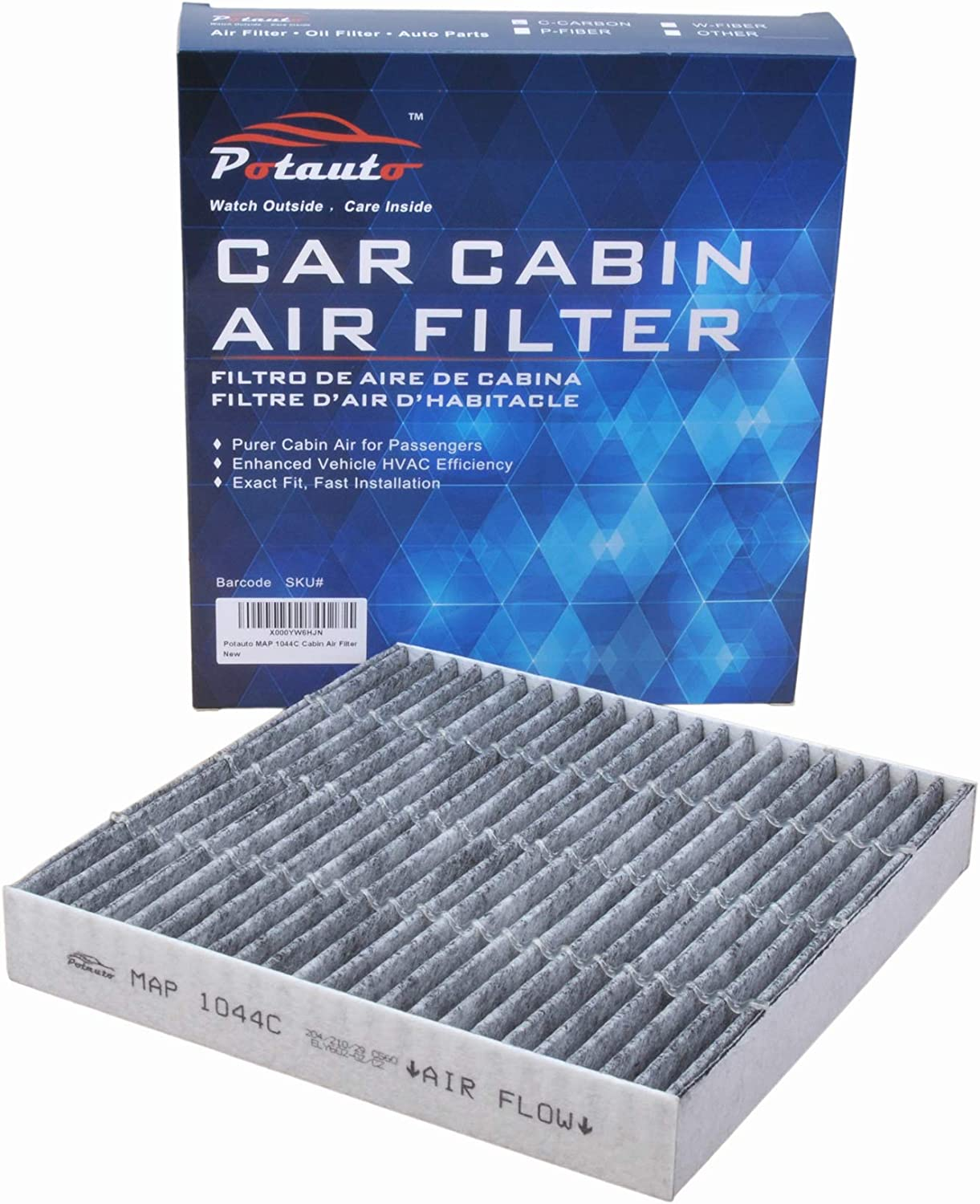 POTAUTO MAP 1021C Activated Carbon Car Cabin Air Filter Compatible Aftermarket Replacement Part CF10775