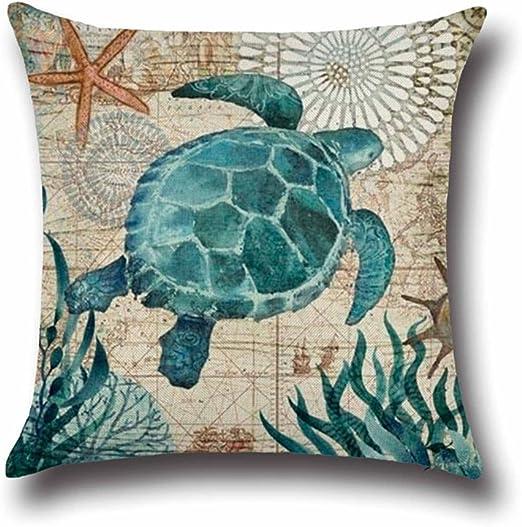 Ocean Life Pillow Cover Cotton Linen Pillow Case Home Decor Cushion Cover 18x18/'