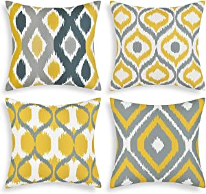 Yastouay Modern Pillow Covers Set of 4 Geometric Pillow Covers Decorative Throw Pillow Cases Cushion Covers for Couch Sofa Bedroom Car(Yellow, 18 x 18 Inch)