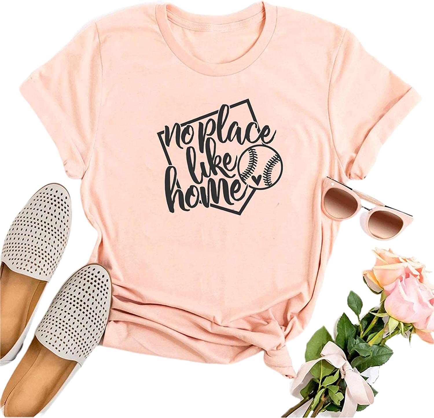 IOEGW Women's No Place Like Home T Shirt Baseball Game Cute Funny Mother's Day Mom Gift Tee Tops