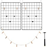 """C&AHOME Photo Wall Panel (Set of 2), 15.7"""" × 11.8"""" Wire Decor Grid Panel, Photo Hanging Display, Multifunction Hanging Picture Wall, Art Organizer, Transparent Hooks, Clips, Hemp Cord, Hammer Black"""