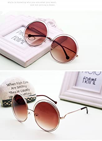 Large Frame Round Sunglasses Gradient Color Lens Metallic Sunglasses ...