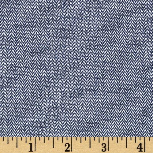 (Robert Kaufman Kaufman Chambray Union Small Herringbone Indigo Fabric by The Yard, Indigo)