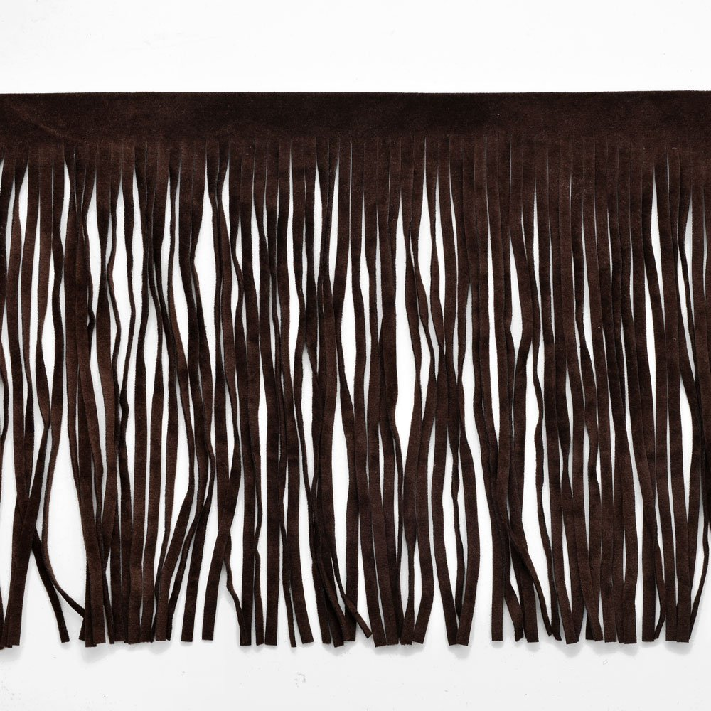 6 Long Faux Suede Fringe Trim by Yard, Black, EXP-IR6826 Joyce Trimming