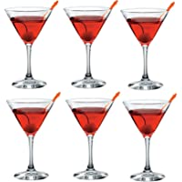 Set of 6 Glass Martini Glasses Cocktail Glasses