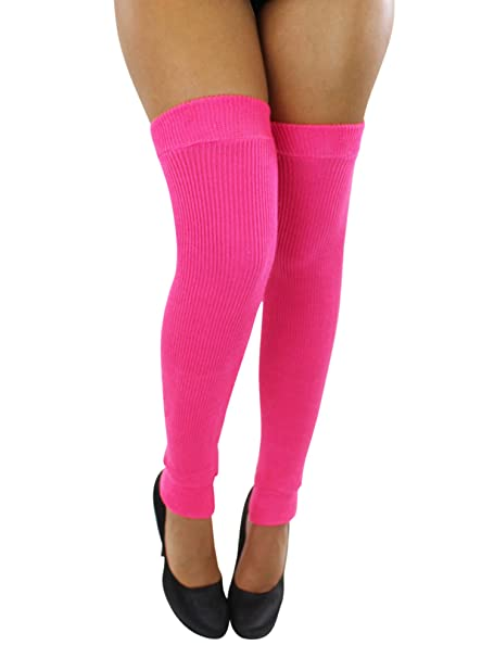 6762a88f8f8 Image Unavailable. Image not available for. Color  Hot Pink Ribbed Knit  Thigh High Dance Leg Warmers