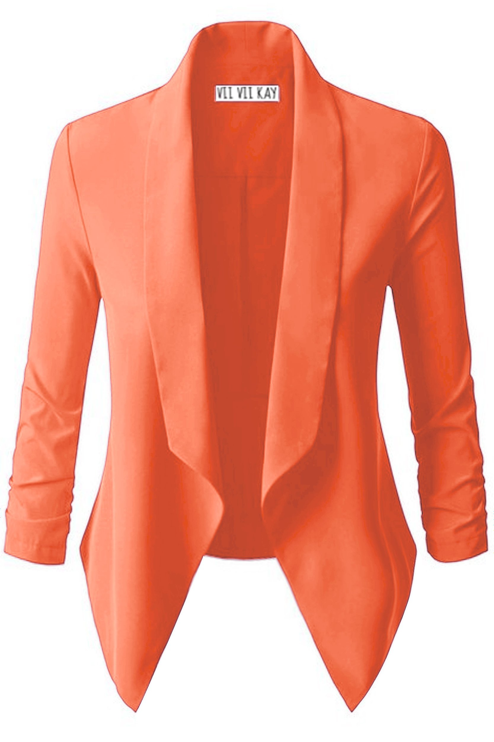 ViiViiKay Women's Versatile Business Attire Blazers in Multiple Styles 261_NEONCORAL M