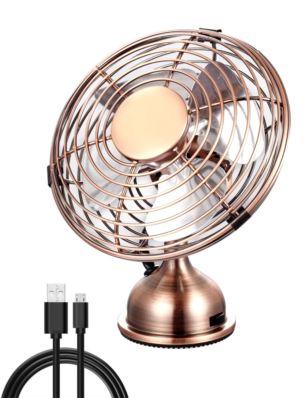 Electroben USB Desktop Cooling Fan (4 inch), Quiet Operation, Metal Design,Art Deco Desk Fan, Powerful Fan for Home and Office - Bronze