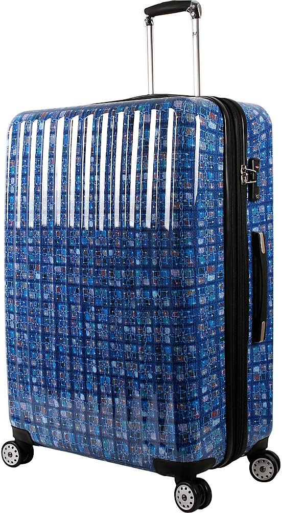 J World New York Titan 29 inch Polycarbonate Art Luggage Logics Blue