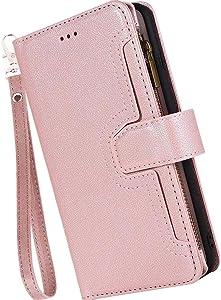 Iphone SE2 2020 Case Wallet,Wallet Case for iphone 8/7,Auker Trifold 9 Card Holder Money Pocket Wristlet Zipper Wallet Case Clutch Folio Flip Vintage Book Leather Magnetic Closure Kickstand Purse Case