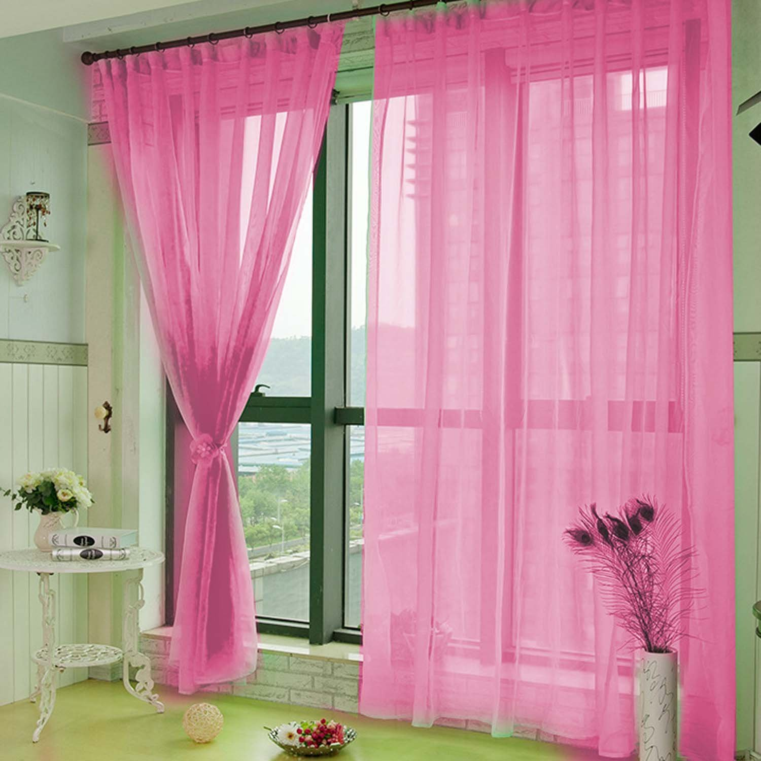 Elisona-1 x 2m Pure Color Voile Tulle Curtain Valance Room Door Window Balcony Curtain Divider Decor Pink