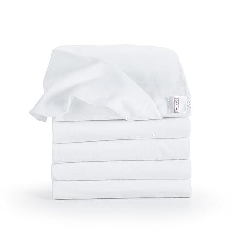 Langes en molleton bébé   Lot de 5   80 x 80 cm   Qualité supérieure - Couleur blanc, double tissage, bordure renforcée, certifié Öko-Tex Standard 100, lavable à 95° C