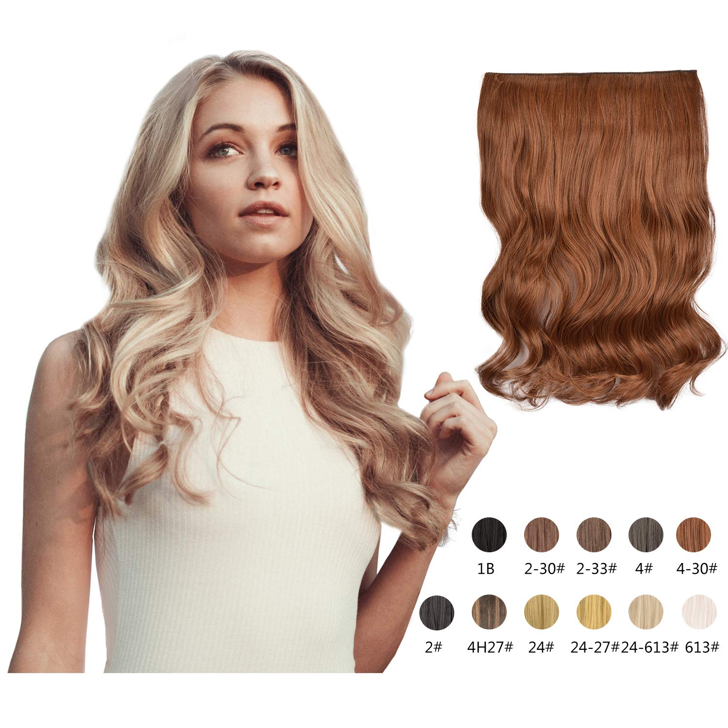 Halo Hair Extensions 20 Inch Long Natural Curly Wavy Synthetic Hairpiece Flip in Hidden Wired Hair Pieces for Women (4/30#)