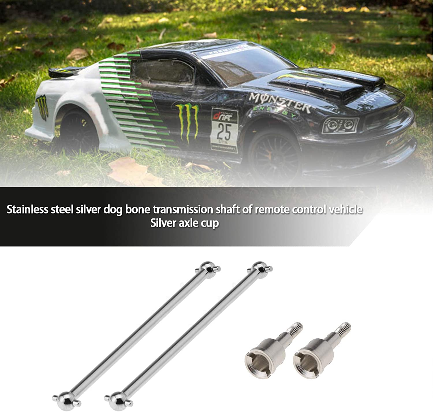 2 Pairs RC Car Front Rear Drive Shafts 89.5mm With Wheel Stub Axle 08029 08059 Universal Silver Stainless Steel Replacement For HSP 1//10 94111 94188 94170