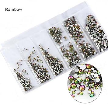 Amazon.com   Glass Nail Rhinestones For Nails Art Decorations Mixed Size  Rhinestone Set Rainbow   Beauty 22c68b6260e1