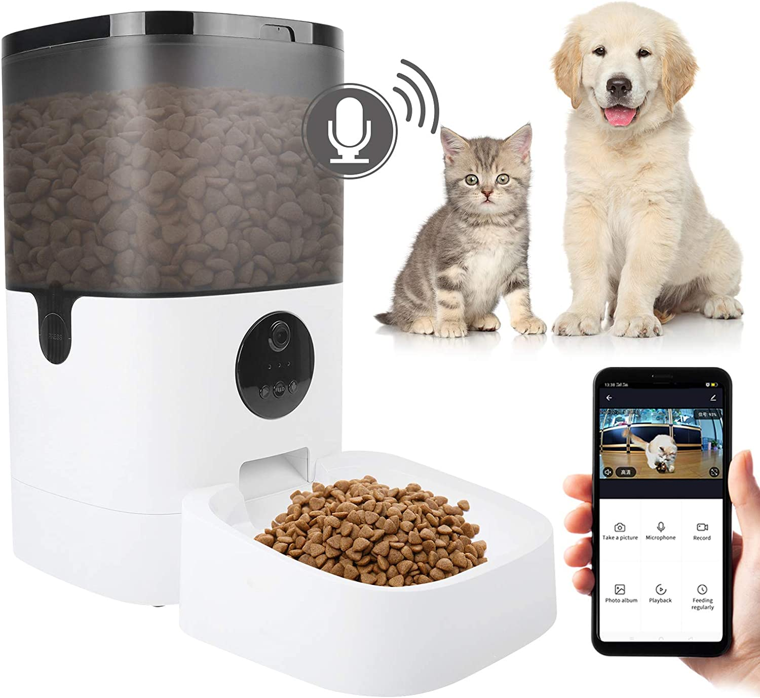 Lucky Monet 6L Smart Automatic Pet Cat Dog Feeder 8-Meal Auto Puppy Kitty Food Dispenser, 1080P HD Camera for Voice Video Recording, Timer Programmable, WiFi Enabled App Control for iPhone Android