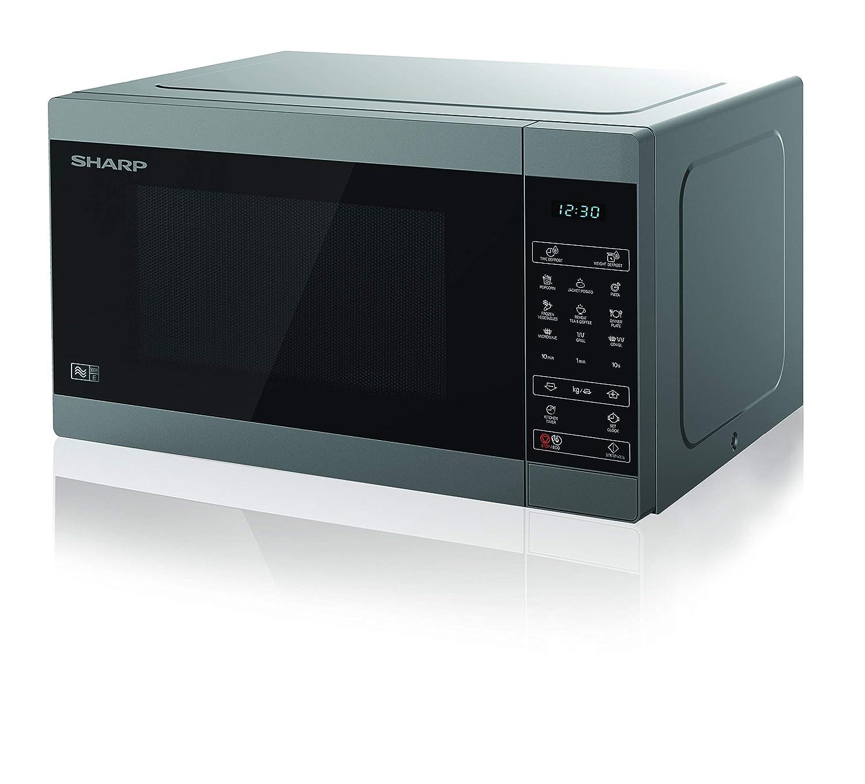 Sharp YC-MG81U-S 28L 900W Digital Touch Control Microwave with 1100W Grill & Ceramic Enamel Interior - Silver