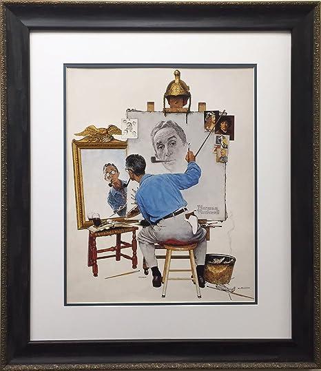 CANVAS or PRINT WALL ART Norman Rockwell Triple Self Portrait