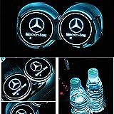 HisAuto 2パックLEDカーカップホルダーライト、USB充電マットを変更する7色の車のロゴコースター、発光カップパッドインテリア雰囲気ランプ装飾ライト (ベンツBenz)