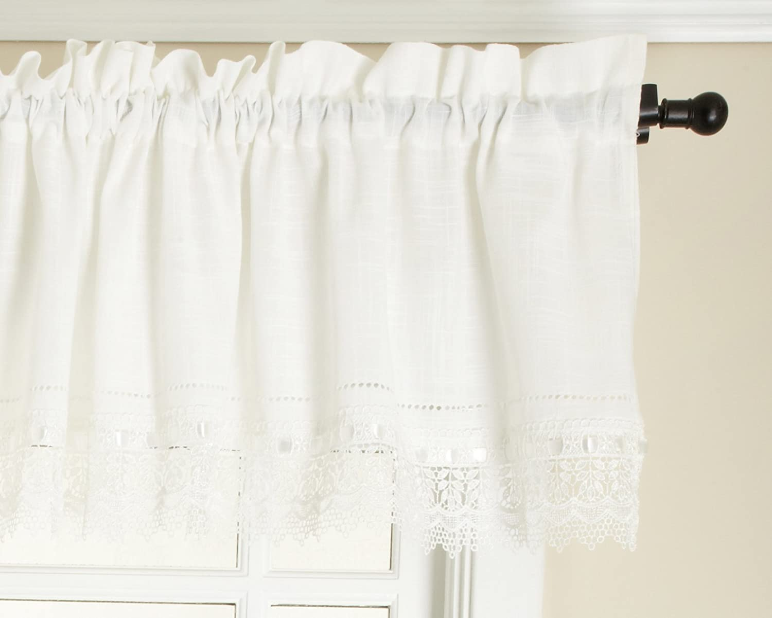 Renaissance Home Fashion Sophia Valance with Macrame Band, Ivory, 58-Inch by 14-Inch SOPHIA-TV