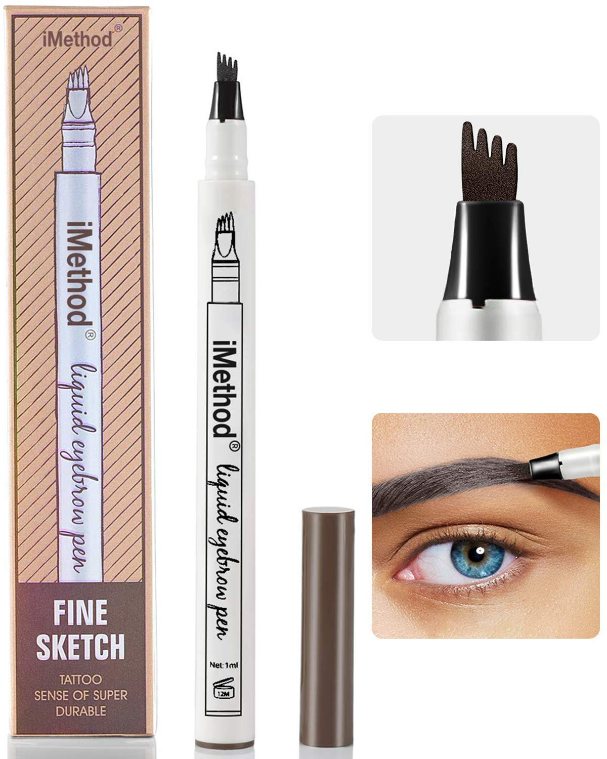 Eyebrow Tattoo Pen - iMethod Microblading Eyebrow Pencil with a Micro-Fork Tip Applicator Creates Natural Looking Brows Effortlessly and Stays on All Day (Dark grey)