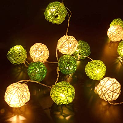 3 m 30led à piles en rotin Boule LED Guirlande lumineuse lumière vert blanc cd1be32e9a89