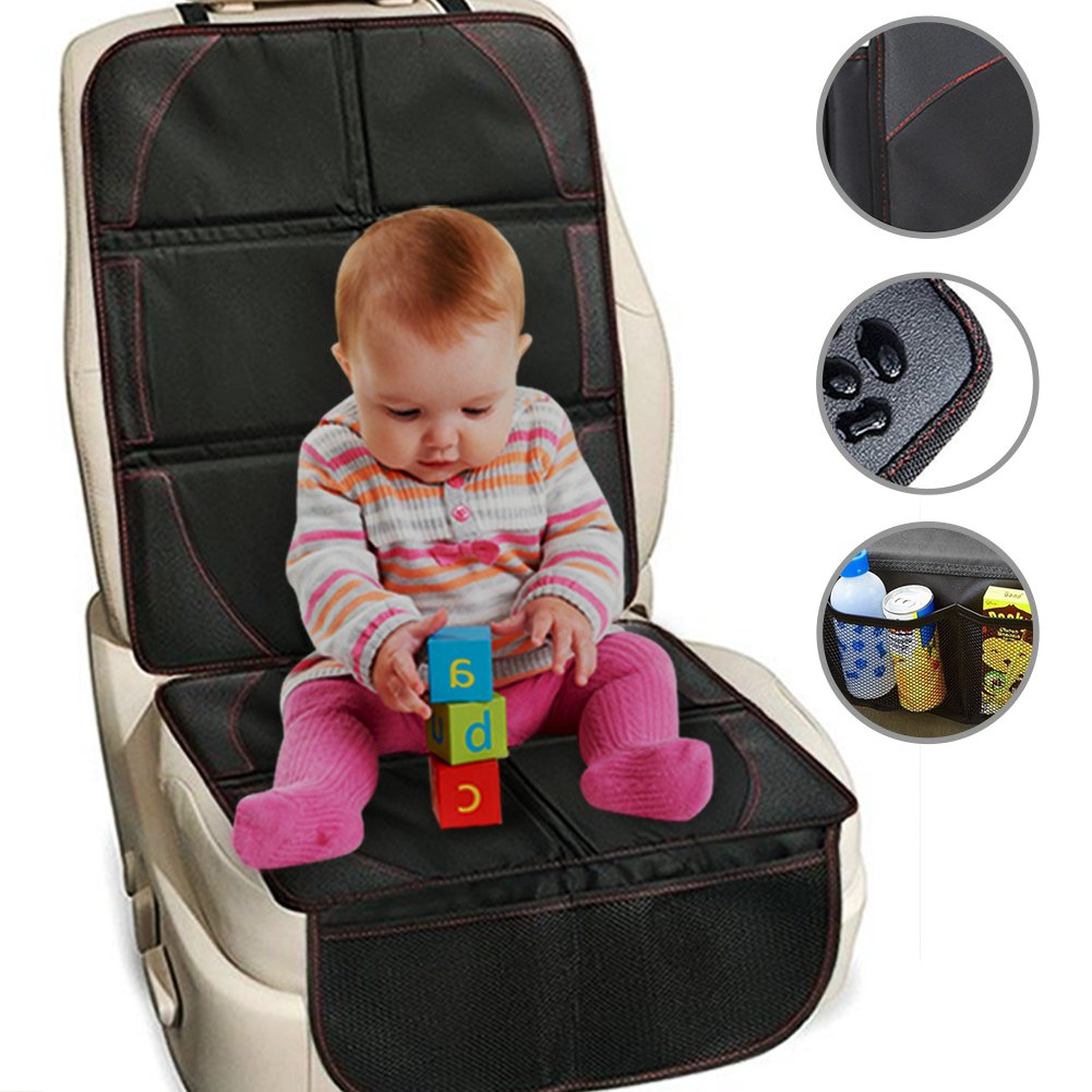 Car Seat Protector,Car Seat Cover Protector with Anti-slip/Waterproof/Scratch-proof,Car Seat Mat with 2 Organiser Pockets for Child/Baby/Toddler,Car Seat Protector with Leather/Oxford Fit Vehicles Travelling DUSVF