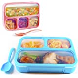 Bento Lunch Box Set (2 Pack 34oz) | 3 and 4 Compartment Lunch Container for Kids Adults | Lunch Box for Work, Home, School | Meal Prep Fda Approved BPA Free | Microwave Safe | By Krama Fresh