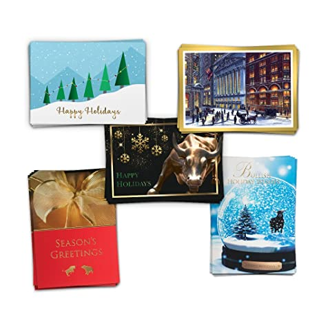 Amazon assorted pack of 25 wall street greetings financial assorted pack of 25 wall street greetings financial holiday cards 25 white gold foil lined m4hsunfo