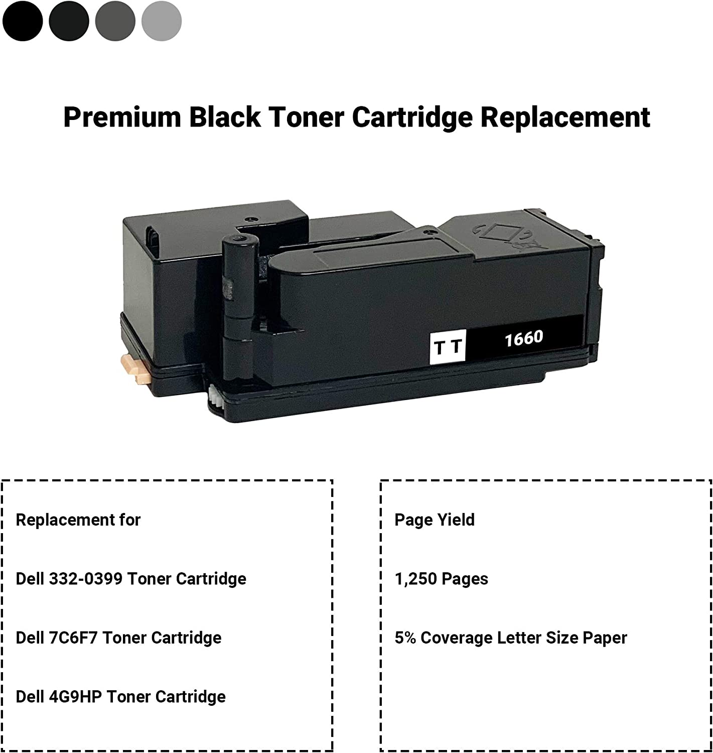 4 Pack Black 332-0399, Cyan 332-0400, Magenta 332-0401, Yellow 332-0402 TCT Premium Compatible Toner Cartridge Replacement for Dell C1660W Printers