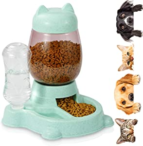 Erebus Dog Automatic Feeder,Food Feeder & Water Dispenser 2 in 1,Hight Quality Plastic Food Bowl & Non Slip Anti Spill Stable Automatic Water Dispenser Pet Food Water Dish for Cat Dogs Pets