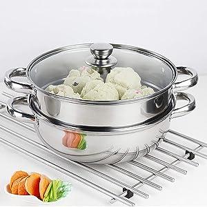 Steamer Pot Stainless Steel 2 Tier - 28cm Steamer Pot w/Glass Lid Food Veg Cooker Pot Cooking Pan Steaming Pot Dim Sum Cookware Steamer For Kitcken Cooking Tool