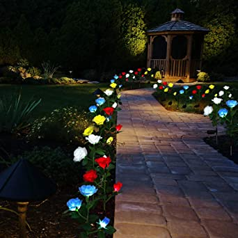 Luces Solares de Jardín Luz de Estaca Rosa Solar Luces de Camino Luces Decoradas de Jardín Patio al Aire Libre para Festivales Navidades (White, 2 PCS): Amazon.es: Iluminación