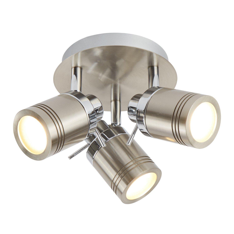 Searchlight Samson 3 Spot Plate Light (IP44, satin silver)