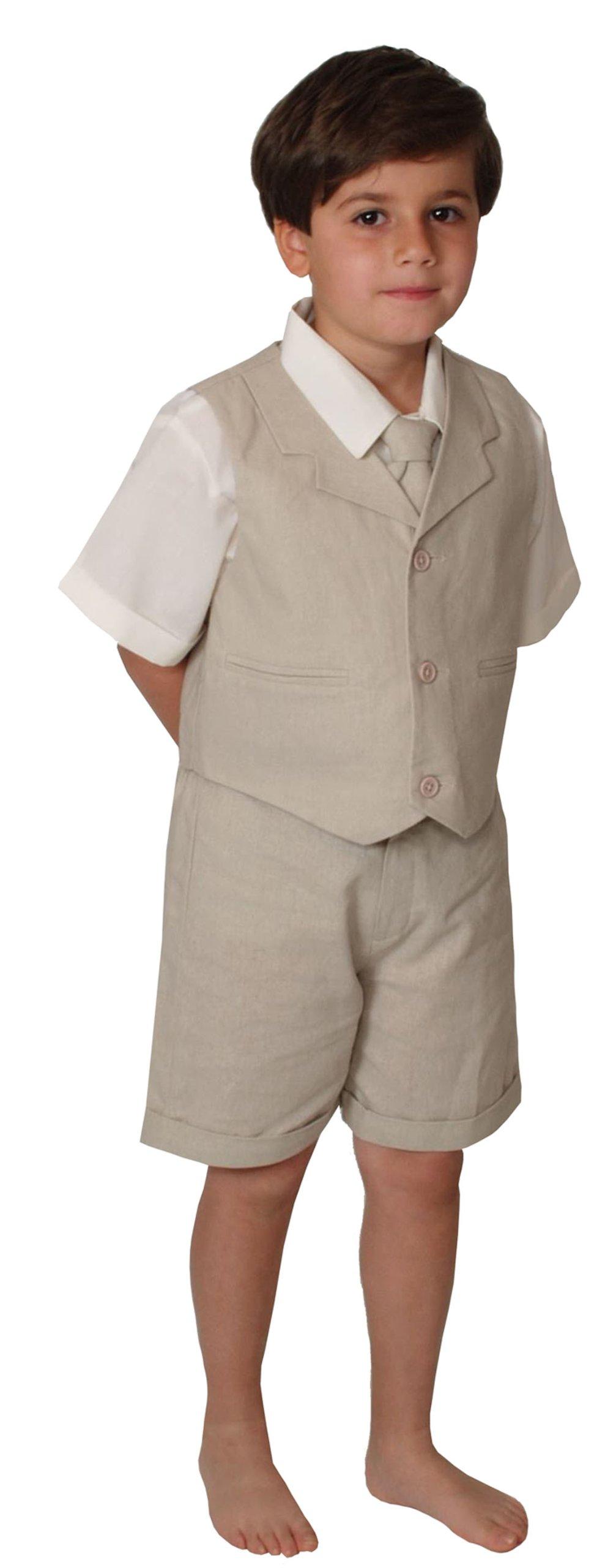G266 SHORT SET Cotton/linen Blend Summer Suit Baby/Toddler (5, Natural)