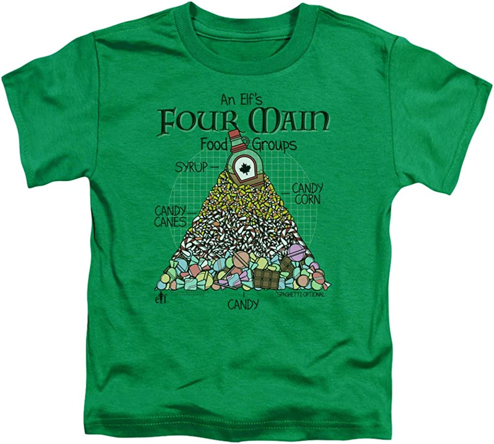 A&E Designs Kids Elf T-Shirt Four Main Food Groups Christmas Tee Shirt