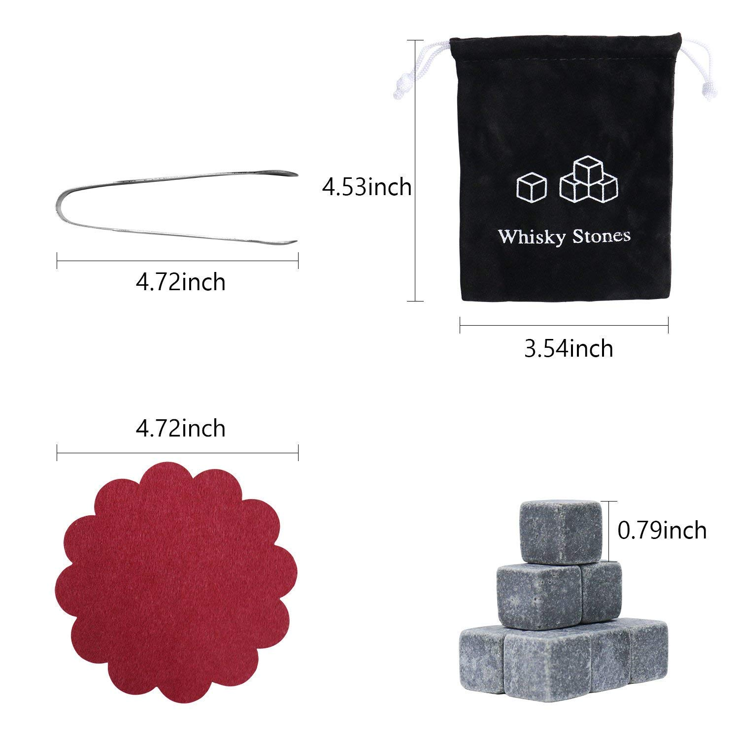 PEMOTech 9PCS Ice Stones with Velvet Pouch Stainless Steel Tongs and 2 CoastersGranite Drinking Rocks for Keeping Your Whiskey Whiskey Stones Wine and other Beverages Cool for Longer and No Dilution
