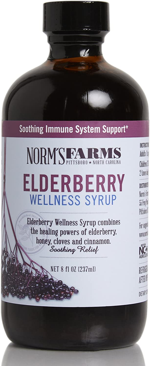 Norm's Farms Natural and Soothing Black Elderberry Wellness Syrup, 8 Ounce Jar