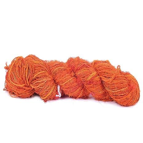 Recycled Sari Silk Yarn - Orange Shade - 165 Yards | Good for Knitting,  Crocheting and Jewelry Making