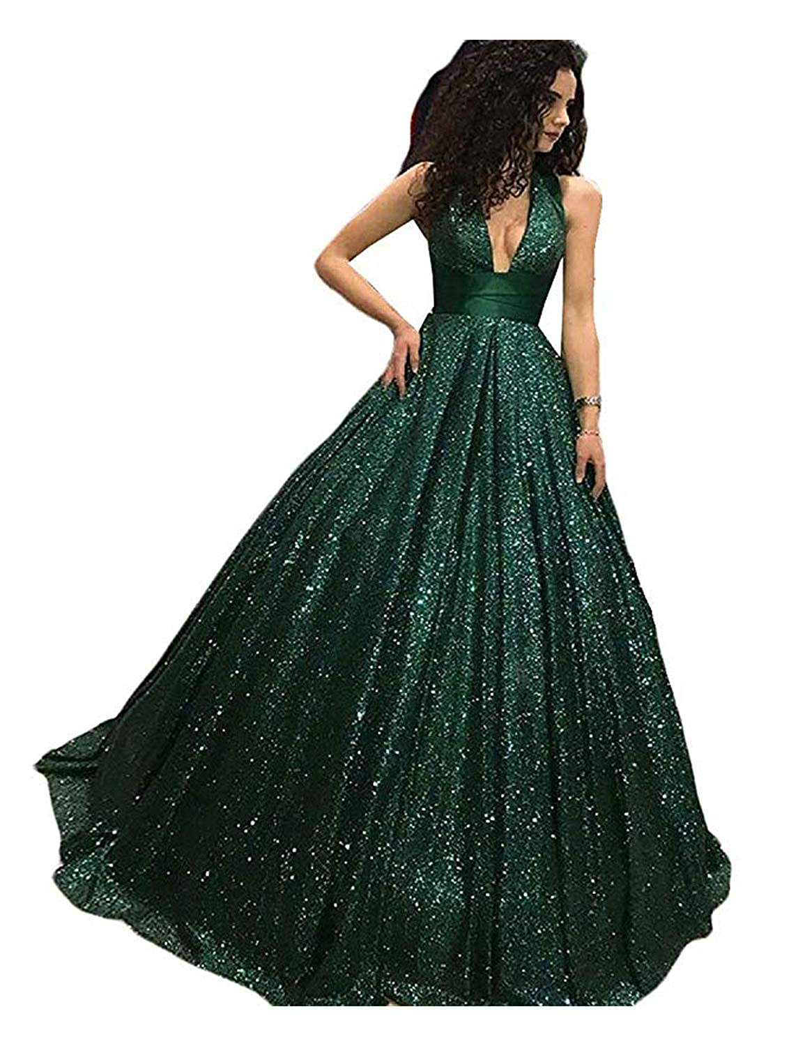Dark Green CIRCLEWLD Halter V Neck Sequin Long Prom Dress Princess Pageant Ball Gown Evening E60