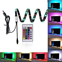 LED Strips Bias Lighting TV Backlight RGB Lights with Remote Control for HDTV, Flat Screen TV Accessories and Desktop PC, Multi Color 35.4""