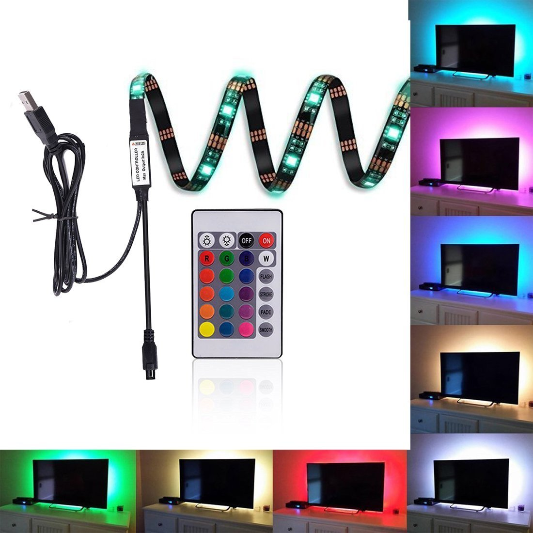 LED TV Backlight Bias Lighting Kits for HDTV USB Powered 2 RGB Multi Color Led Light Strip with Remote Control Home Theater Accent Lighting Kits (Reduce Eye Fatigue and Increase Image Clarity) Kohree