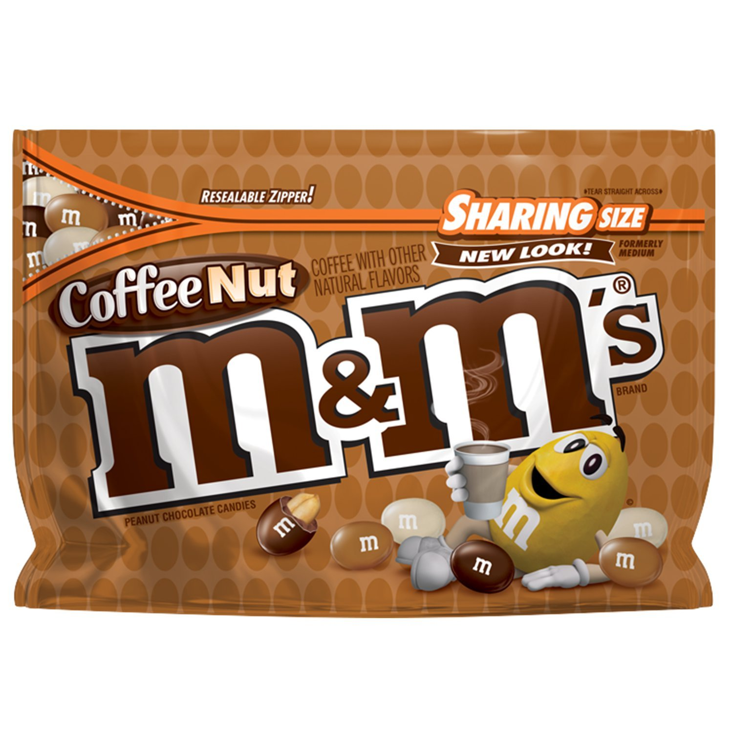 M&M'S Coffee Nut Peanut Chocolate Candy Sharing Size Bags 9.6 Ounce (Pack of 8)