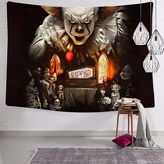KLF H_T2O Psychedelic Chapter Clowns Tapestry Wall Hanging Art Tapestries Trippy for Dorm Decor 70.9 x 92.5 Inch