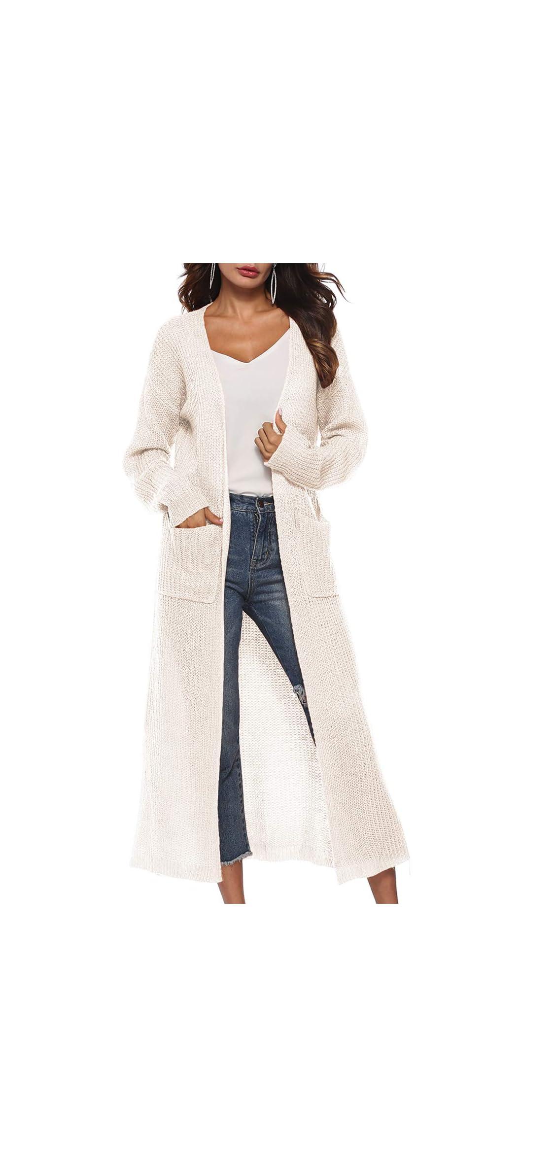 Womens Casual Long Sleeve Split Open Cardigan Knit Long Cardigan