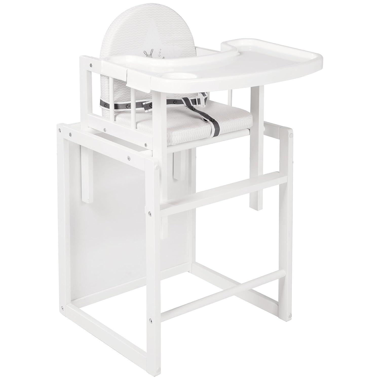 Trona de madera combi lacada en blanco con reductor de asiento. Roba-Kids 7519WV168