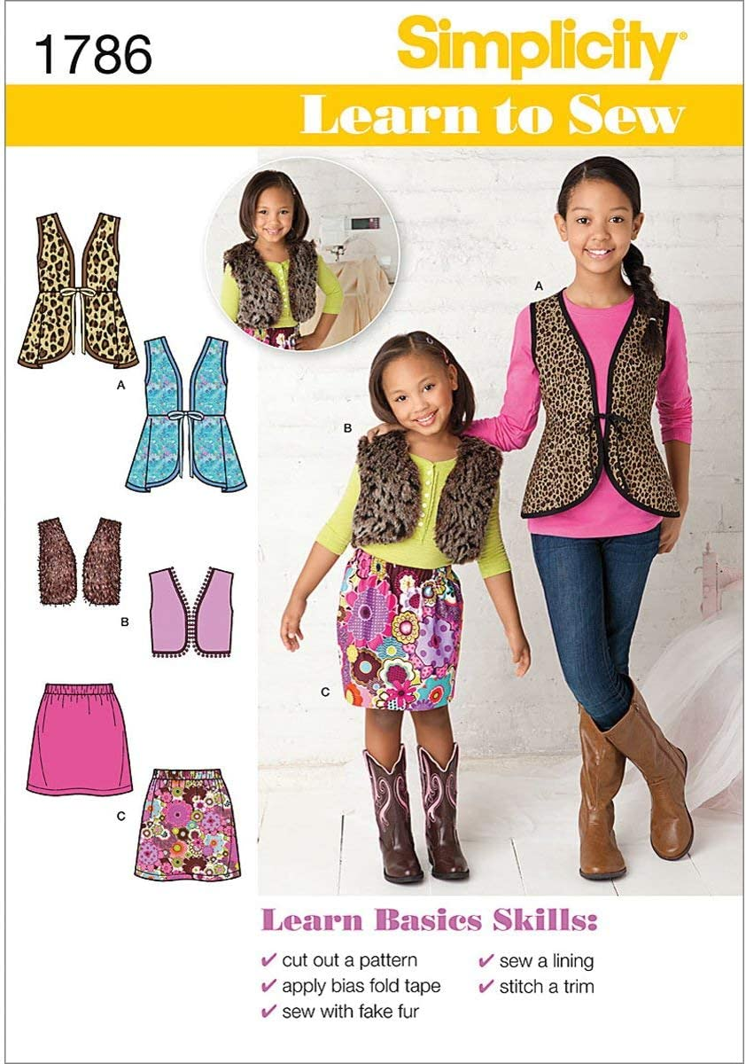 Simplicity SEWING PATTERN 8027 Childs//Girls Jacket,Vest,Skirt,Top /& Leggings