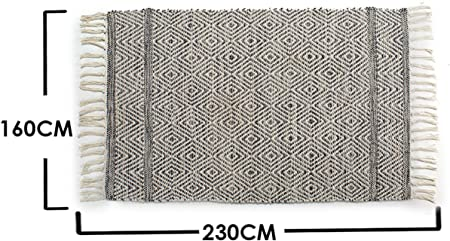 Ar Alfombra zig-Zag algodón 230x160 cm, Gris: Amazon.es: Hogar