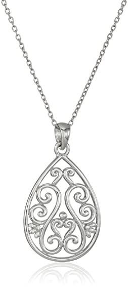 "Sterling Silver Filigree Teardrop Pendant Necklace, 18"""