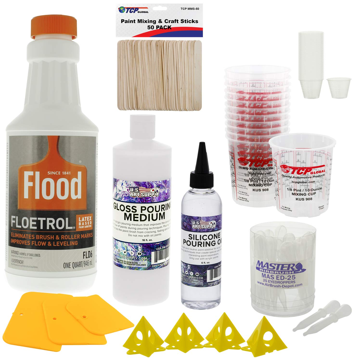 U.S. Art Supply - 1 Quart Floetrol Additive Pouring Supply Paint Medium Deluxe Kit for Mixing, Stain, Epoxy, Resin - Silicone Oil, Plastic Cups, Mini Painting Stands, Sticks, Spreaders
